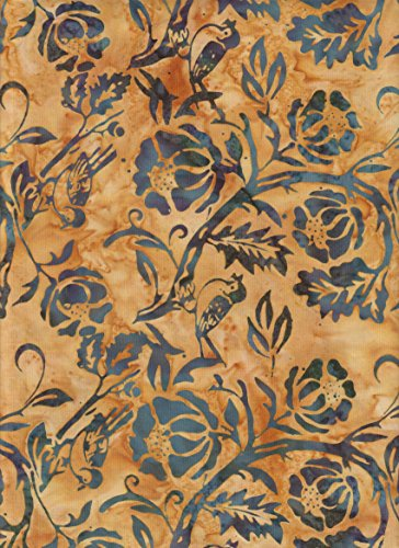 Island Batik Cheery Blue Birds and Wood Rose Flowers Stamped on Golden Brown Batik Quilt Fabric ~ HALF YARD ~ IKF13A-R1 ~ Quilt Fabric 100% Cotton 45