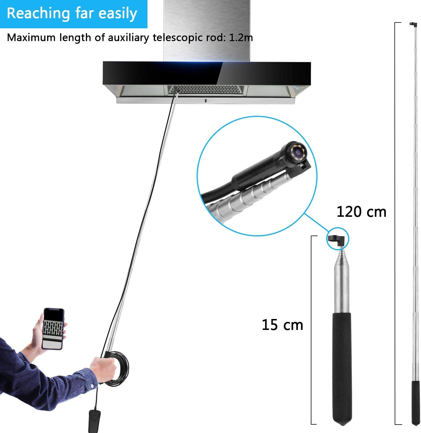 PEYOU 10M Wifi Inspection Camera Compatible for iPhone and Android Phones,Wireless Endoscope Camera With Telescopic Rod 1080P HD Snake Camera With 8 led Light Waterproof IP68 Borescope for Tab
