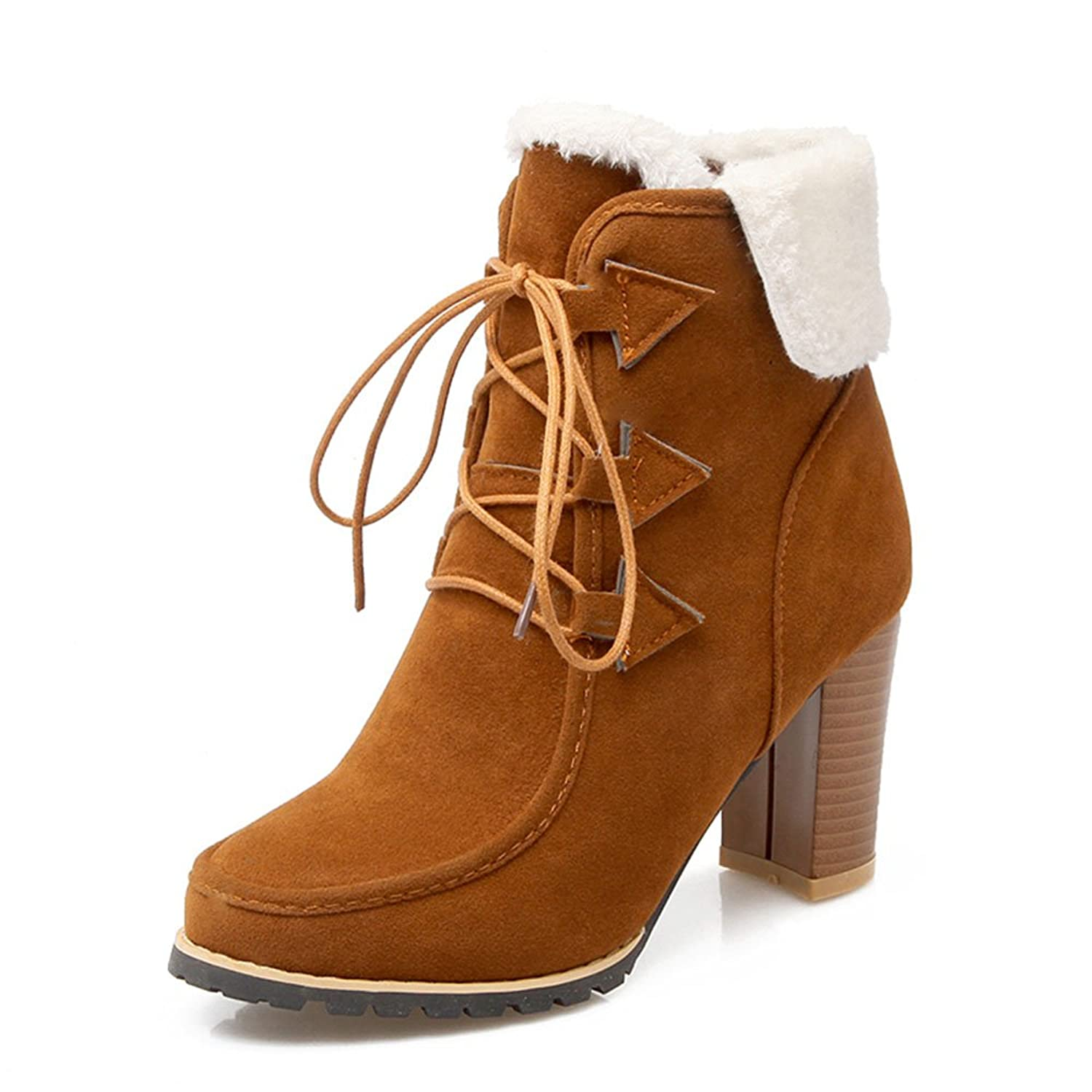 2016 Women New High Heel Suede Ankle Boots Winter Warm Lace Up Block Heel Boots
