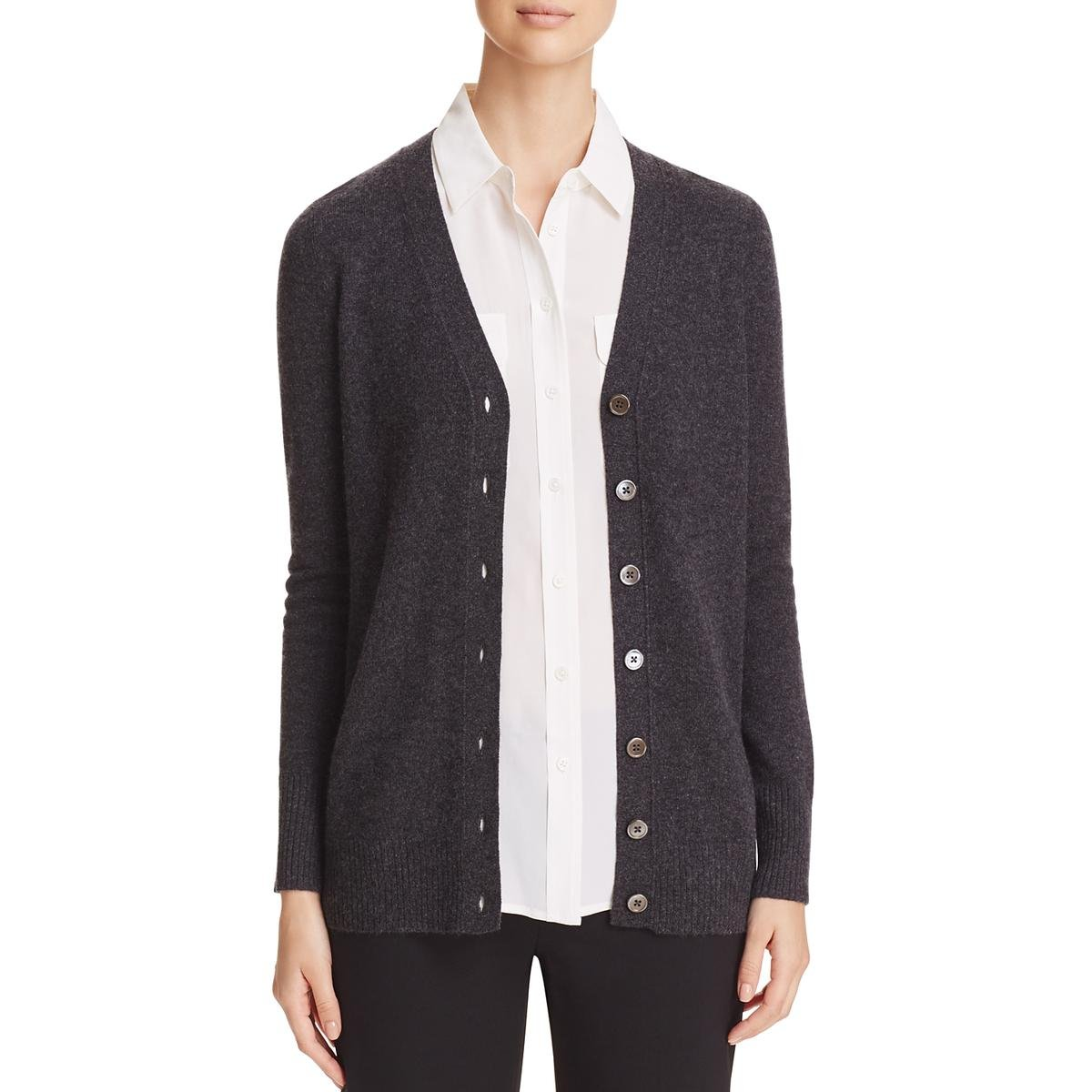 Private Label Womens Cashmere Ribbed Trim Cardigan Top Gray M by Private Label (Image #1)