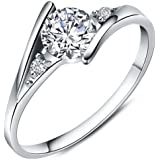 Women's Charms White Cubic Zirconia Diamond Love Promise Cz Ring Engagement Wedding Bridal Eternity Bands