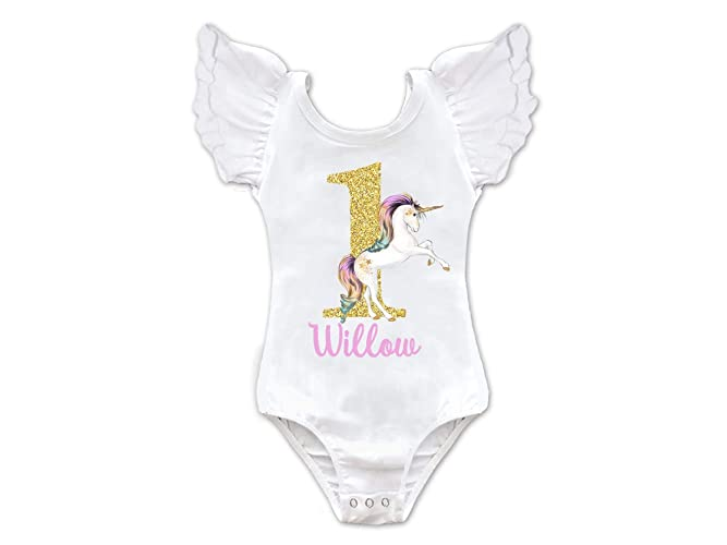 cdf47fa14 Amazon.com: Girls Personalized Unicorn Birthday Leotard: Handmade