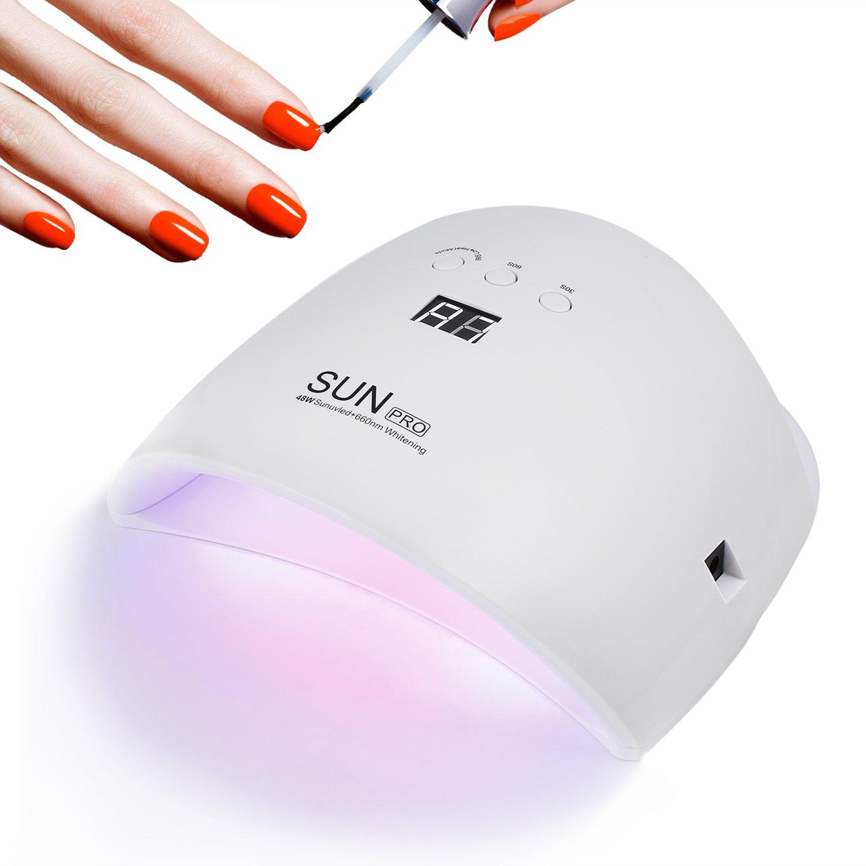 Lámpara para Uñas, U-Kiss Secador de Uñas 48W, Lámpara UV y LED para ...