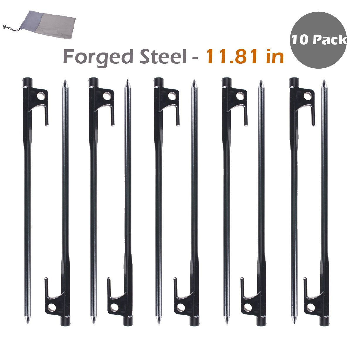 TRIWONDER Forged Steel Tent Stakes Heavy Duty Tarp Pegs Solid Stakes Footprint Camping Stakes (Black - 11.81in - 10 Pack) by TRIWONDER