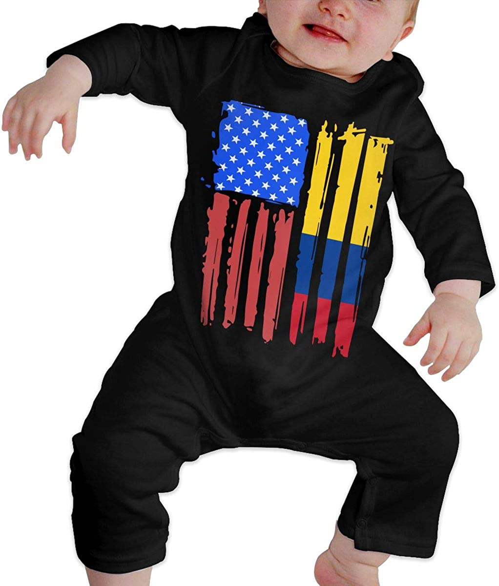 American Half Colombia Flag Organic One-Piece Kid Pajamas Clothes BKNGDG8Q Newborn Baby Boy Girl Romper Jumpsuit
