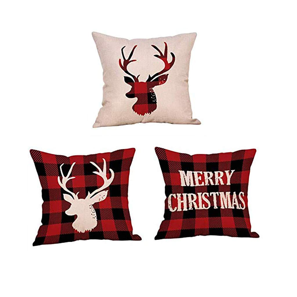 Clearance! Christmas Pillowcases, Christmas Deer Linen Cushion Cover Pillow Case Sofa Bed Home Decoration Festival Pillow Case Cushion Cover (3 pcs)