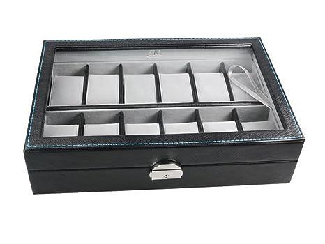 MR Caja - Vitrina Guarda Relojes para 12 Gama Lujo Polipiel