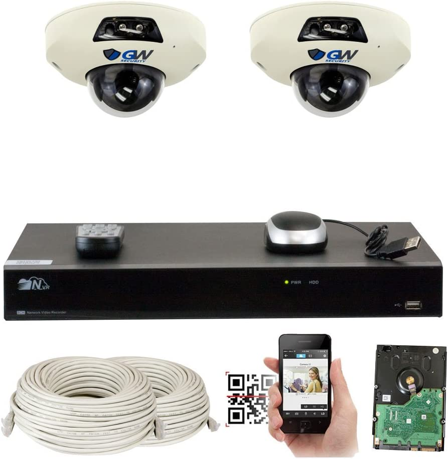GW Security 5-Megapixel 8 Channel PoE 4K NVR Security Camera System – 2 5MP Video Audio Surveillance Weatherproof Microphone IP PoE Dome Cameras, 1.9mm 160 Super Wide Angle Lens