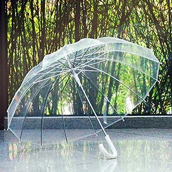 ssby 16 Hombres y Mujeres bone-style transparente paraguas, mango largo automáticamente, creativa