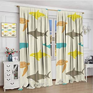 GUUVOR Sea Animals Heat Insulation Curtain Pattern with Whale Shark and Turtle Aquarium Doodle Style Marine Life for Living Room or Bedroom W120 x L108 Inch Ivory Taupe Peach