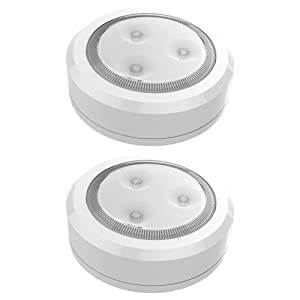 Brilliant Evolution BRRC113 Ultra Thin Wireless LED Puck Light 2 Pack | LED Under Cabinet Lighting | Closet Light | Battery Powered Lights | Under Counter Lighting | Stick On Lights