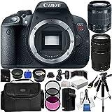 Canon EOS Rebel T5i/700D 18 MP CMOS Digital SLR Camera w/EF-S 18-55mm f/3.5-5.6 IS STM Lens + EF 75-300mm f/4-5.6 III Telephoto Zoom Lens + LP-E8 Battery + 16GB Memory Card + Wide Angle & Telephoto Lenses + Filter Kit + More Sunset Electronics Bundle