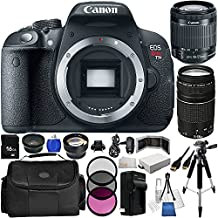 Canon EOS Rebel T5i/700D 18 MP CMOS Digital SLR Camera w/EF-S 18-55mm f/3.5-5.6 IS STM Lens + EF 75-300mm f/4-5.6 III Telephoto Zoom Lens + LP-E8 Battery + 16GB Memory Card + Wide Angle & Telephoto Lenses + Filter Kit + More Sunset Electronics Bundle
