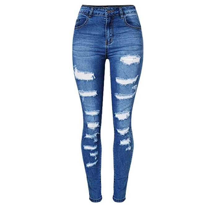 sneakers for cheap purchase original closer at LIYT-TOPSHOP Women's Ripped High Waist Elasticity Denim Jeans Pants