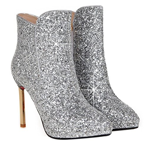 Boots Toe Boots amp; Winter High Glitter Ankle Womens Silver Party Heels Material Wedding ENMAYER Shoes Pointed qf8FW6xU