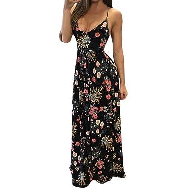 92e6ea9922 Luckylin Women's Sexy V Neck Boho Floral Backless Strap Criss Cross Beach  Party Long Maxi Dresses at Amazon Women's Clothing store: