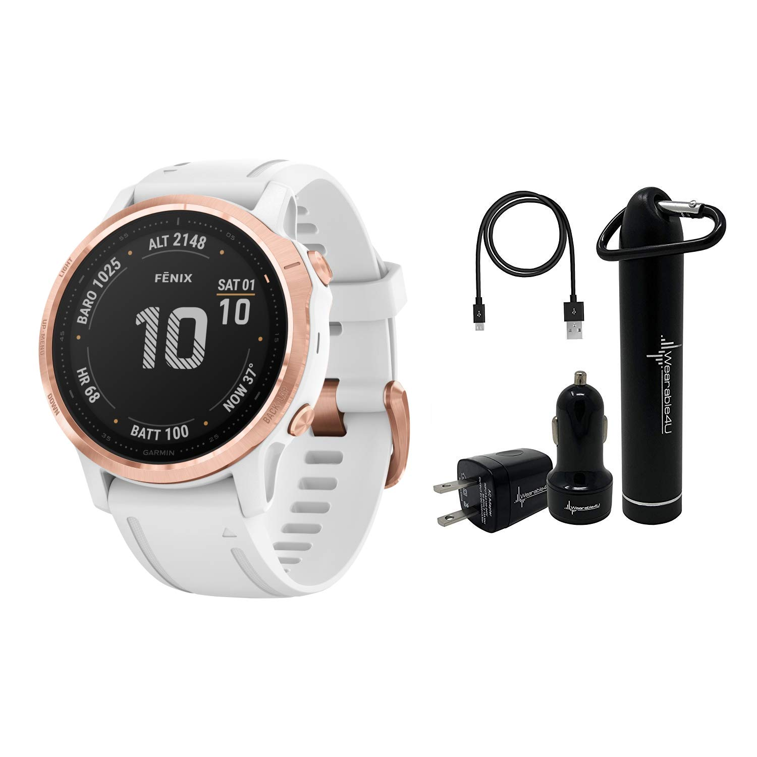 Garmin Fenix 6S Smaller-Sized Multisport GPS Watch with Wrist-Based Heart Rate Pulse Ox and Wearable4U Ultimate Power Bundle (PRO/Rose Gold-Tone with White Band) by Wearable4U