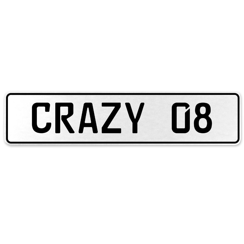 Vintage Parts 555595 Crazy 08 White Stamped Aluminum European License Plate