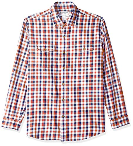 - Amazon Essentials Men's Regular-Fit Long-Sleeve Two-Pocket Twill Shirt, Navy/red Check, Large