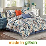Wonder Home 7 Piece Paisley Design Comforter Set, Luxury Oversized Blue and Orange Bedding Set with Shams, Dec Pillows, Bedskirt, Queen, 92''x96''