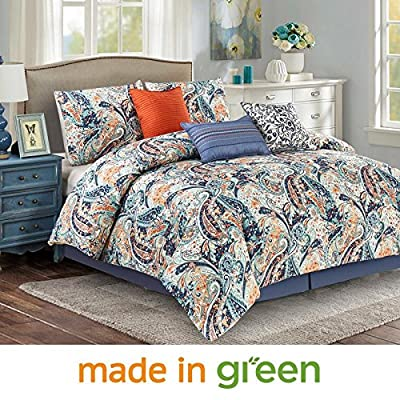 "Wonder Home 7 Piece Paisley Design Comforter Set, Luxury Oversized Blue and Orange Bedding Set with Shams, Dec Pillows, Bedskirt, Queen, 92""x96"" - 100% SAFE - Unlike other sellers, our factory is OEKO-TEX Standard certified(a higher designation even than Organic), it means unharmful yarns & dyes, no formaldehyde, no toxic chemicals, eco-friendly. Your body will thank you. DESIGNER BEDDING SET - Dress up your bedroom with this paisley design comforter set, the orange and blue combo makes this traditional paisley modern and fun. 1 oversized queen comforter 92""x96"", 2 standard shams, 3 Dec pillows, 1 bedskirt. FINER FABRIC & FILLING - Higher quality microfiber fabric is double brushed to attain soft and smooth hand feel. Overstuffed with 220gsm down-like and hypoallergenic polyester, this medium weight comforter gives you all-season coziness. - comforter-sets, bedroom-sheets-comforters, bedroom - 61z4 GgXNAL. SS400  -"
