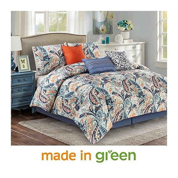 "Wonder-Home 7 Piece Paisley Design Comforter Set, Luxury Oversized Blue and Orange Bedding Set with Shams, Dec Pillows, Bedskirt, Queen, 92""x96"" -  - comforter-sets, bedroom-sheets-comforters, bedroom - 61z4 GgXNAL. SS570  -"