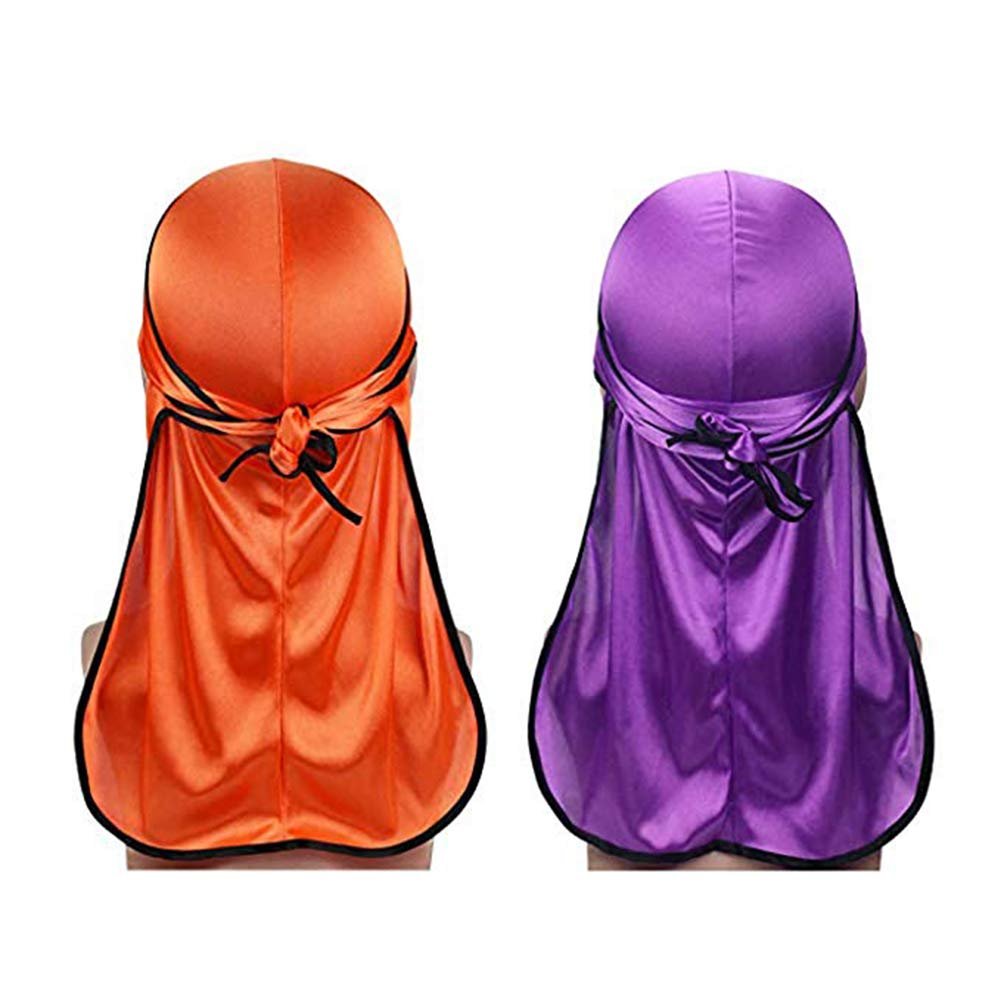 Super iMan 2PCS Silky Durag Extra Long-Tail and Wide Straps Headwraps Pirate Cap