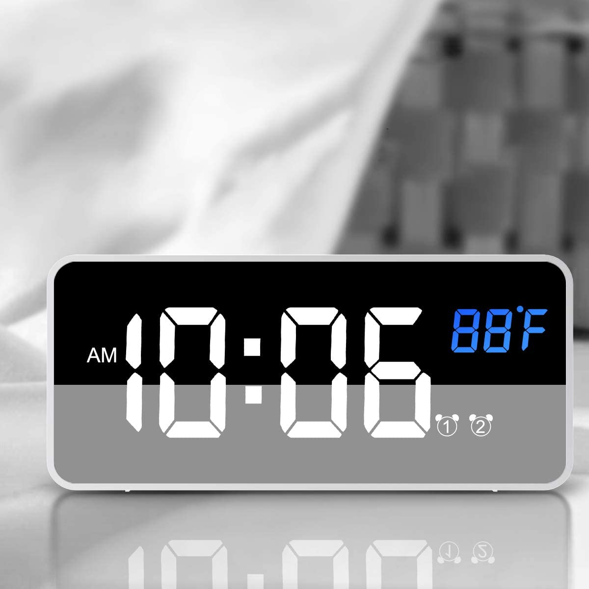 Nicewell Traveling Digital Alarm Clock Mini Size Silver with USB Charging LED Time or Temperature Display, Snooze, Adjustable Brightness, Simple Operation, 12/24Hr