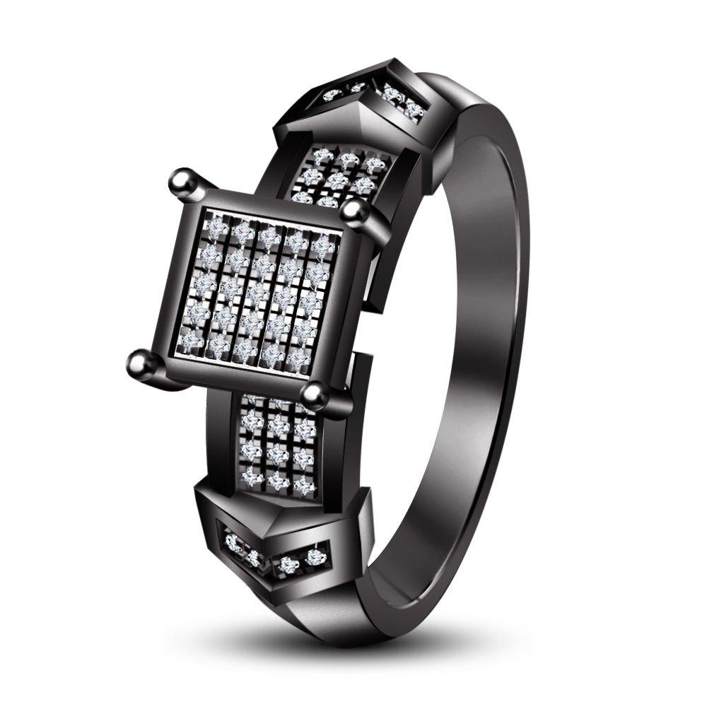 Moda Vorra su y su piedra blanca y negro 925 rodio plateado de plata conjunto trío de anillos de compromiso: Amazon.es: Joyería