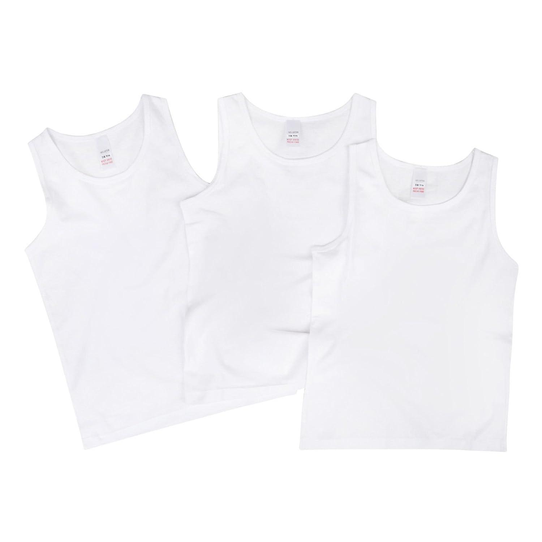 Paradise Boys Vests 3 Pack White Cotton Vests Back To School Essentials