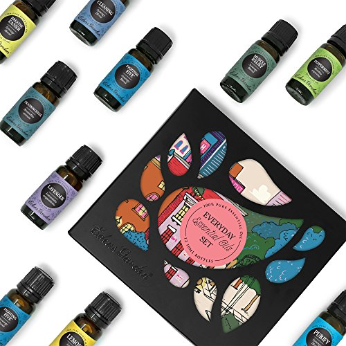 (Everyday 100% Pure Essential Oil Gift Set-12/10 ml(Breathe Easier, Cleaning, Frankincense, Fighting Five, Lavender, Lemon, Muscle Relief, Peppermint, Purify, Stress Relief, Tea Tree, Uplift) )