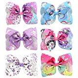 YHXX YLEN 6 Pcs 8 Inch Large UnicornColorful Bow Hairpin Girls Bows With Clip Hair Bows (Style 1)