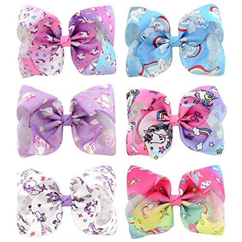 (YHXX YLEN 6 Pcs 8 Inch Large Unicorn Colorful Bow Hairpin Girls Bows With Clip Hair Bows (Style 1))