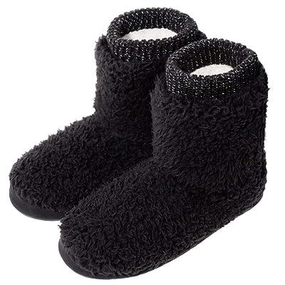 Shoeslocker Women's Memory Foam Faux Fleece Fuzzy Plush Lining Bootie Slippers: Clothing