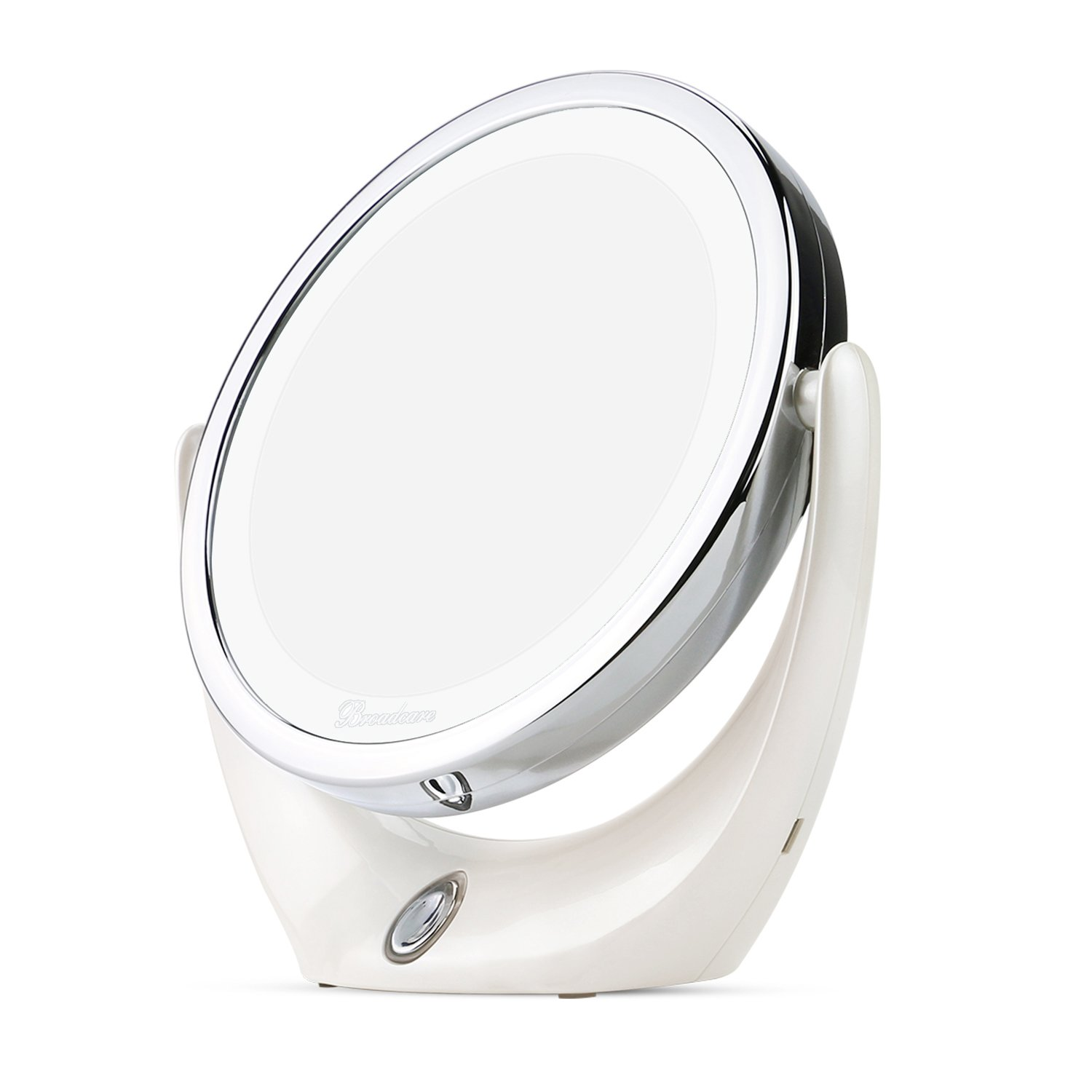 Magnifying Vanity Mirror with Light, BROADCARE LED Lighted Makeup Mirror with 1x/5x Magnification for Travel