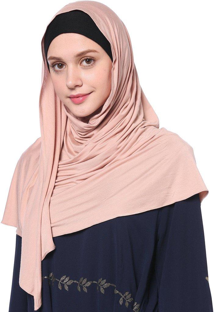 YI HENG MEI Women's Modest Muslim Islamic Soft Solid Cotton Jersey Inner Hijab Full Cover Headscarf,Dark Pink