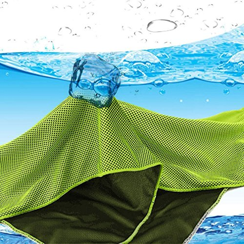 Aosce Cool Towel, 40″x12″ Microfiber Cooling Towel for Instant Cooling Relief in Hot Environment, Ice Towel Stay Cool for Sports and Fitness (Green & Blue) 61z40hwkCEL