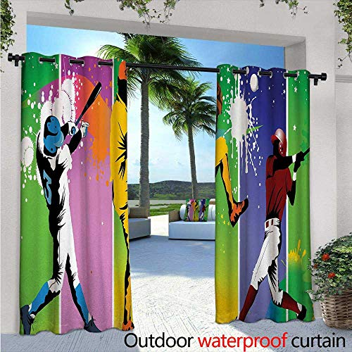 BlountDecor Baseball Indoor/Outdoor Single Panel Print Window Curtain W96 x L84 Players in Different Positions in Playground Action Catcher Pitcher Modern Sports Silver Grommet Top Drape Multicolor