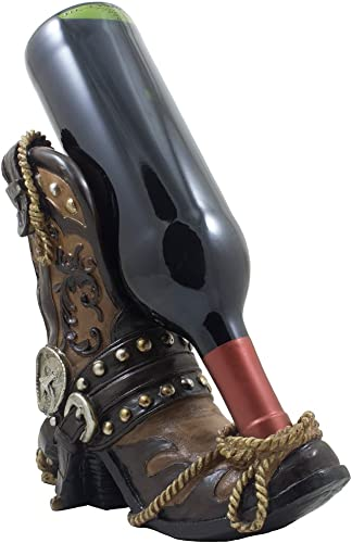 Fancy Cowboy Boot Wine Bottle Holder Decorative Display Stand Statue