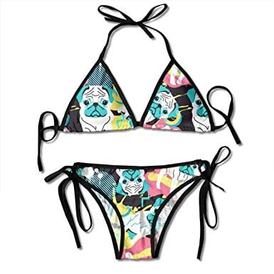 eb5682d1eac7a BEST  SHIRT Women s Two Piece Swimsuit Adjustable Cute Dogs Pug Pattern  Print ...