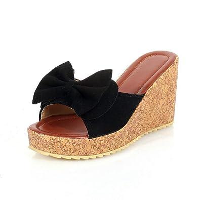 3990f6295 BalaMasa Womens Platform Solid Bows Black Urethane Slides Sandals  ASL05675-4.5 B(M)