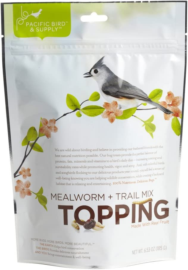 Pacific Bird & Supply Co. Mealworm + Trail Mix Topping, 6.53oz Bag