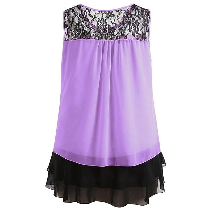 Amazon.com: TOTOD Women Tops Fashion Womens Lace Ruffles O-Neck Sleeveless Chiffon Tank Tops Blouse Vest: Clothing