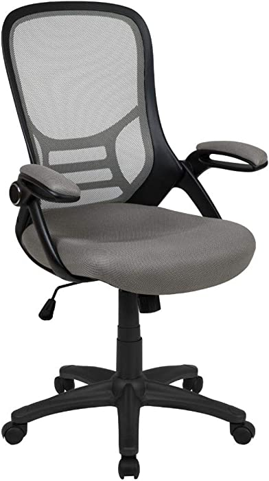 Flash Furniture High Back Light Gray Mesh Ergonomic Swivel Office Chair with Black Frame and Flip-up Arms