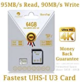 64GB Micro SDXC U3 Card Plus SD Adapter Pack. Amplim Pro Extreme Class 10 UHS-I MicroSDXC 95MB/s Read, 90MB/s Write. Ultra High Speed HD UHD 4K Video. Internal/External MicroSD Flash Memory Storage