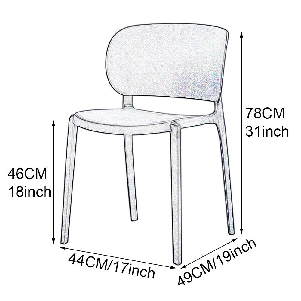 Uppsättning av 2 vardagsrumsstol kaffestol köksstol vardagsrumsstol matstol - stapelbar med ryggstöd modernt norra Europa kontor mottagningsstol konferensstol (höjd: 78 cm) gRÖN
