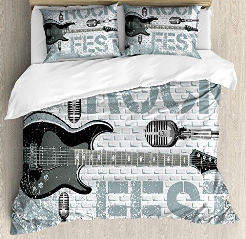 Ambesonne Rock Music Duvet Cover Set King Size, Grunge Color Splashed Brick Wall Background Electronic Guitar Mics Design, Decorative 3 Piece Bedding Set with 2 Pillow Shams, Blue Grey