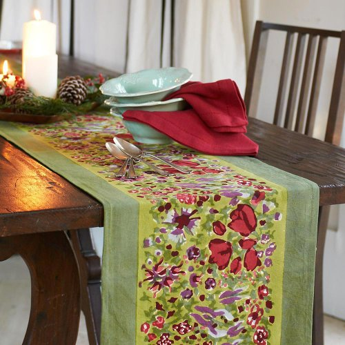 Jardin Table - Couleur Nature 16-inches by 72-inches Jardine Table Runner, Red/Green