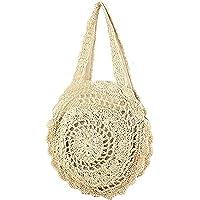 Abuyall Sac de paille femmes Weave mignon forme ronde Summer Beach fourre-tout Shopping Mode sac ¨¤ bandouli¨¨re Zip