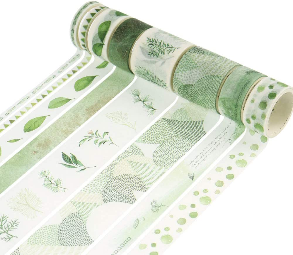 Dizdkizd Washi Tapes Set, 8 Rolls Colorful Patterns Masking Tapes with 3 Sizes 5/15/30mm Wide, Aqua Green Design Decor Washi Tapes for DIY Craft, Bullet Journal, Planners, Scrapbooking, Calendar